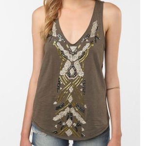 Ecote UO Anthro Olive Green Beaded Tank Top Size S
